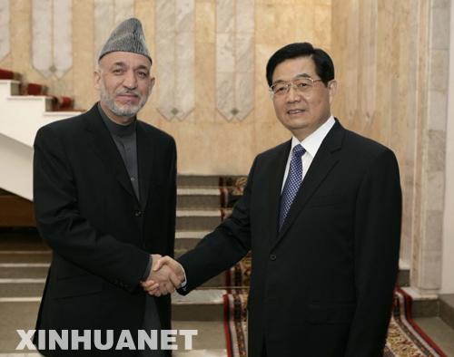 国家主席胡锦涛在比什凯克会见四国领导人图片