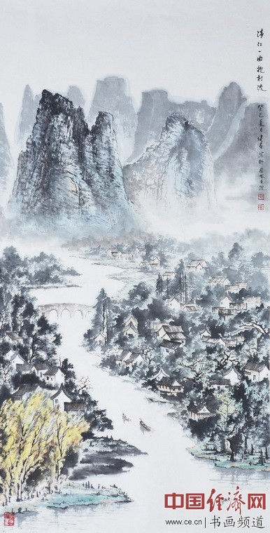 漓江一曲抱村流138cmx69cm 作者:秦健春